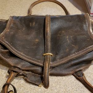 BOTKIER LARGE BROWN LEATHER DUFFLE.